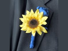 Sunflower Boutonniere, Sunflower Rose, Blue Yellow Wedding Flower, Custom Groom Flower,  Blue Wrapped Stem,  Made to Order, Blaze Collection by SouthcastleCreations on Etsy