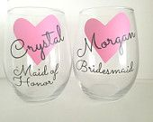 1 Personalized Bridesmaid Wine Glass,Pink Heart Wine Glass,Pink heart Wedding,Pink Heart Bridesmaid Gift,Gifts For Bridesmaid