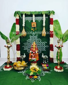 Our First is going to be so traditional with trials on full swing from our branches Decor by Haneesha… Housewarming Decorations, Diy Diwali Decorations, Home Wedding Decorations, Backdrop Decorations, Festival Decorations, Flower Decorations, Backdrops, Eco Friendly Ganpati Decoration, Ganpati Decoration Design