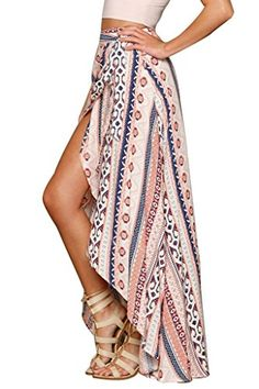 HOTAPEI Womens Ethnic Print Maxi Skirt Wrapped Beach Cover up Dress