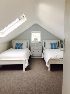 An inspirational image from Farrow and Ball. End wall and door painted in Borrowed Light Eggshell. A very soft blue. Bonus Room, Upstairs Bedroom, Room, Family Room, Small Media Rooms, Home Decor, Farrow Ball, Farrow And Ball Bedroom, Bedroom