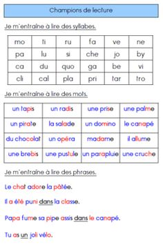 Priorité donné au déchiffrage en CE1 French Language Lessons, French Language Learning, French Lessons, Read In French, Learn French, Daily 5 Reading, Teaching Reading, French Flashcards, French Worksheets