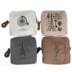 T, Women Classic Canvas Coin Bag Case Zipper Purse Card Holder