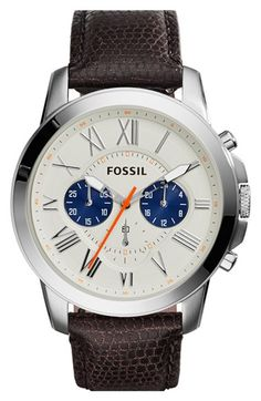 Fossil+'Grant'+Round+Chronograph+Leather+Strap+Watch,+44mm+available+at+#Nordstrom