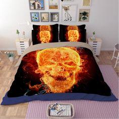 New fashion 4pcs/3pcs Linen Individual 3D Skull & Flame Bedding Set Single Bed Super King Size Skeleton Duvet
