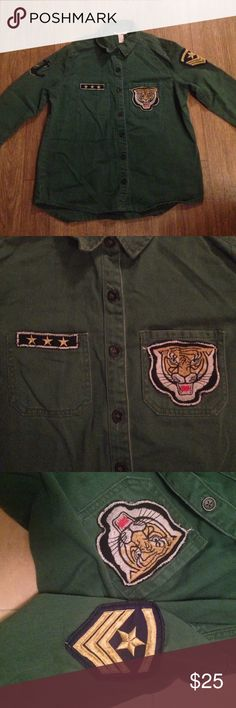 Patches shirt Army green in color with patches on both sleeves and the front Urban Outfitters Tops Button Down Shirts