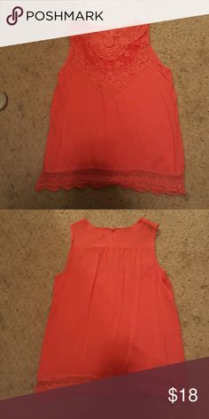 Lace tank top Bought online never came with a tag. Never worn to big for me. Material is kind of a silky Material. Very cute just to big. Nothing wrong with it in great condition never worn just tried on. Bought from pinklily pinklilly Tops Tank Tops