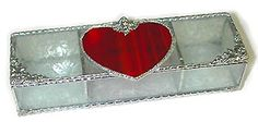 "Red Heart Stained Glass Jewelry Box - 3 1/2"" x 9""  - To see this and more, visit us at www.AccentOnGlass.com"