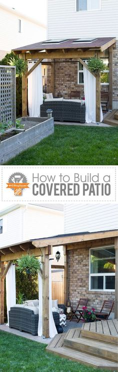 "Take the indoors outside - build a covered patio! This step-by-step post will show you how to build a ""lean-to"" style patio cover just in time for summer."