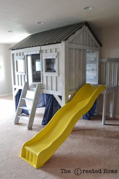DIY cabin inspired playhouse~ The Created Home Indoor Playroom, Kids Indoor Playhouse, Build A Playhouse, Playroom Ideas, Indoor Playground, Playroom Design, Inside Playhouse, Toddler Playroom, Playroom Organization