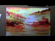 ▶ comment faire un coucher de soleil en aquarelle -True-painting - - YouTube