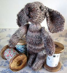 Bunny, from the book Toy Knits by Debbie Bliss, and knit with Freedom Wool by Penny at Planet Penny