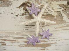 Ornament stars purple tree gift tag handmade by SeamariesBounty