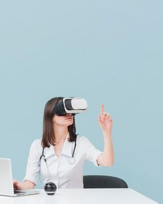 Female doctor using virtual reality headset with copy space #paid, , #Ad, #affiliate, #virtual, #reality, #space, #doctor Photography Backdrop Stand, Virtual Reality Headset, Female Doctor, Space, Floor Space, Spaces