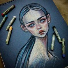 79/365  Вновь быстрая зарисовка масляной пастелью  #draweveryday  #365art  #sketch #oilpastel  #portraitgirl  #blackfury