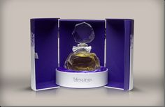 This perfume box suggests wealth; the rich purple colour used for the interior compliments how the box opens to display the perfume on a platform. When closed the packaging will be a cylinder shape which means, when being shipped, there will be some space in between boxes.