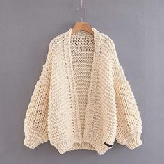 Loose Long Bishop Sleeves Women Hand Knit Chunky Sweater – May Your Fashion Chunky Knitting Patterns, Hand Knitting, Thick Sweaters, Cardigan Pattern, Cardigan Fashion, Cardigans For Women, Women's Cardigans, Ladies Dress Design, Chunky Knit Cardigan