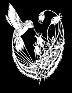 This would be a pretty tattoo. Black lace, the hummingbird bright colors.