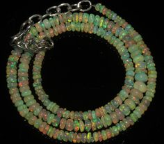 """34 Crts 1 Strands 3 to 5 mm 15"""" Beads necklace Ethiopian Welo Fire Opal  A+1603"""