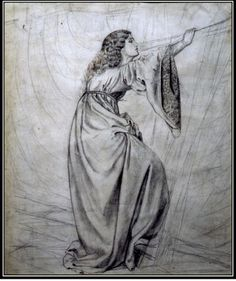 Study for 'Iseult on the Ship' by William Morris, c. 1857.Portrait of Jane Burden. Pencil and ink.