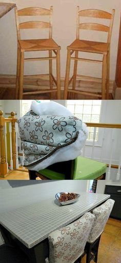 1000 images about craft room on pinterest brass pipe bronze spray paint and crib spring - Bar height chair slipcovers ...