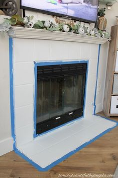 DIY Painted and Stencilled Tile on Fireplace Are you tired of your ugly fireplace tile? Looking for easy DIY ways of painting fireplace tile and ways to update your fireplace? See these 9 beautiful DIY painted fireplace projects! Paint Fireplace Tile, Fireplace Hearth Tiles, Tile Around Fireplace, Fireplace Update, Brick Fireplace Makeover, Home Fireplace, Fireplace Remodel, Fireplace Surrounds, Painted Fireplace Mantels