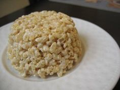 Individual Rice Krispies Treat. Quick & easy microwave recipe (microwave 4 marshmallows and a teaspoon of butter, then mix in a half cup of rice krispies, shape and let cool).