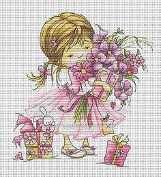 Girl with a Bouquet Cross Stitch Kit