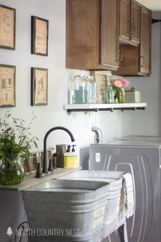 industrial style laundry room renovation reveal / home renovation / home decor / galvanized laundry tub / pipe shelving / vintage laundry prints Home Renovation, Home Remodeling, Laundry Room Inspiration, Home Decor Inspiration, Decor Ideas, Room Ideas, Diy Ideas, Decorating Ideas, Laundy Room