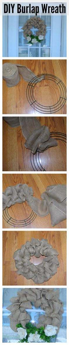 1. Tie burlap in knot to secure to wreath frame. 2. Pull a loop through each section going from the inside out and then back again. 3. Repeat all the way around the frame. 4. Tie or tuck in the end. 5. Decorate with whatever you want!