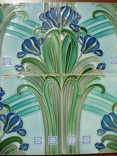C1900 Original Art Nouveau Majolica Stunning Set 4 Tiles Germany Villeroy Lilies | eBay