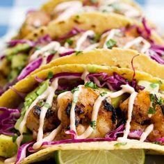 Honey Lime Tequila Shrimp Tacos with Avocado, Purple Slaw and Chipotle Crema @keyingredient #honey #tacos #shrimp