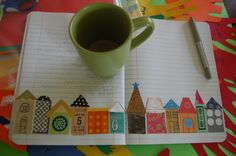 Journal pages-happy little houses all in a row...