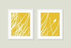 Spring Birds and Branches - Wall Art Print Set - Mustard Yellow - Modern - Bird on Twig - Woodland - Home Decor