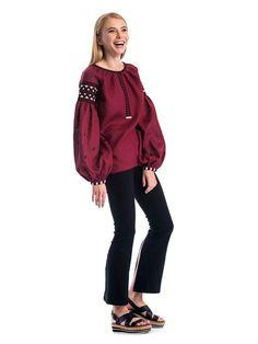 Женская вышиванка с широкими рукавами из бордового льна ES2