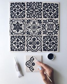 Likes, 36 Comments – ⠀ … – Mosaic Mandala Painting, Dot Painting, Mandala Art, Pottery Painting, Ceramic Painting, Ceramic Tile Art, Motifs Blackwork, Diy And Crafts, Arts And Crafts