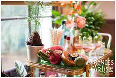 Tropical Themed Wedding Cocktail Drinks Trolley - tropical fruit platter chirimoya, dragon fruit, watermelon, passion fruit, striped drinks straws | Wedding styling Always Andri www.alwaysandri.co.uk | Frances Carlisle Photography www.francescarlisle.co.uk