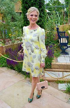 Yellow Dress Summer, Summer Dresses, Suzi Perry, Emilia Fox, Hampton Court Flower Show, Orange Handbag, Tv Presenters, Striped Dress, The Hamptons