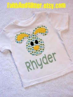 Personalized Boy's Easter Bunny Applique Shirt by FaithAndGlitter, $20.00