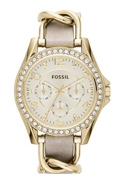Pure elegance. In love with this crystal and gold watch by Fossil.