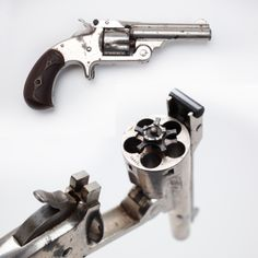 Smith  Wesson's 1st Auto Ejecting Revolver- The Smith  Wesson Model 1 ½ in .32 centerfire was caught in the middle of SW's many models and variations. So what set it apart from the others? It was SW's first .32 caliber revolver equipped with automatic ejection. This particular gun has a 3 ½ inch barrel and has an early SW logo variation on the grips with block letters. Later in the production run, the grips had script letters. NRA National Firearms Museum in Fairfax, VA.