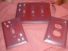 Primitive Americana - Light Switch Plate Outlet Cover - Vintage Antique Stars