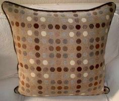 Chocolate Button Cushion made from thick wool, good enough to eat but calorie free. Made as a size of 24 inches square Also available as Mini Chocolate Button as a size of inches Big Chocolate, Chocolate Buttons, Large Floor Cushions, Brown Cushions, Good Enough To Eat, Wool, Mini, Fabric, Free