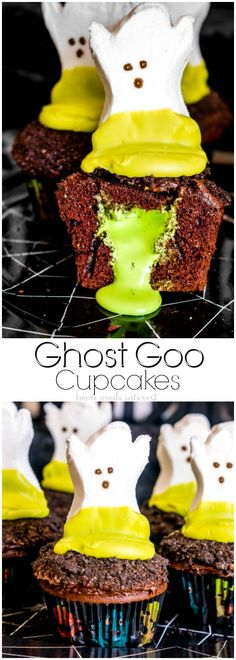 Craveyard Halloween Party | The ghost goo cupcakes are my favorite Halloween dessert recipe. The Halloween cupcakes are filled with green marshmallow slime that oozes out when you bite into them. We've also got a fun Halloween drink idea. Lots of fun Halloween party decorations and Halloween party ideas that kids will love! via @hmiblo #Craveyard, #AD