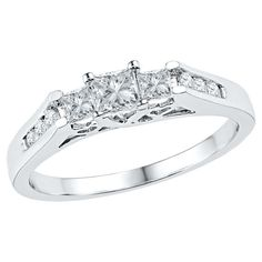 1/2 CT. T.W. Round and Princess Diamond Prong and Channel Set 3 Stone Promise Ring 10K White Gold