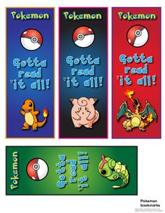 Pokemon bookmarks (free download) updated look.                                                                                                                                                                                 More
