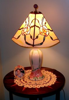 STAINED GLASS LAMP SHADE ON PRE-SELECTED BASE FOR CUSTOMER IN NORTH CAROLINA
