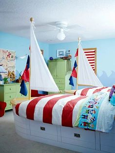 Pirate Room for Two - Nautical details abound in this all-boy room. A pair of boat-shape twin beds (complete with sails) are perfect for two young pirates! Discover more kids room decorating and organizing tips and ideas @ kidsroomdecoratin. Pirate Bedroom, Kids Bedroom, Kids Rooms, Boy Rooms, Bedroom Ideas, Shared Bedrooms, Kid Spaces, Nursery, Decoration