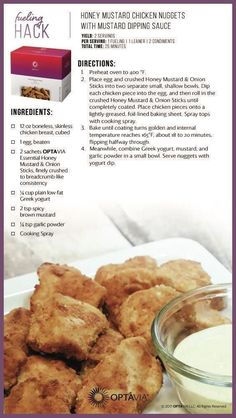 With dipping sauce. Find great spices and more, w… Honey mustard chicken nuggets! With dipping sauce. Find great spices and more, w… Lean Protein Meals, Lean Meals, Chicken Nuggets, Healthy Snacks, Healthy Recipes, Free Recipes, Healthy Habits, Eating Healthy, Healthy Dinners