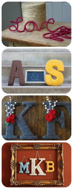 "50 Beautiful Yarn Craft Tutorials {yarn wreaths, pom poms, decor} it's not crochet but it is yarn, so....I really like the ""K & F"" letters."